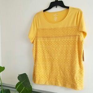 NWT Petite Mixed Lace Short Sleeve Tee  Yellow